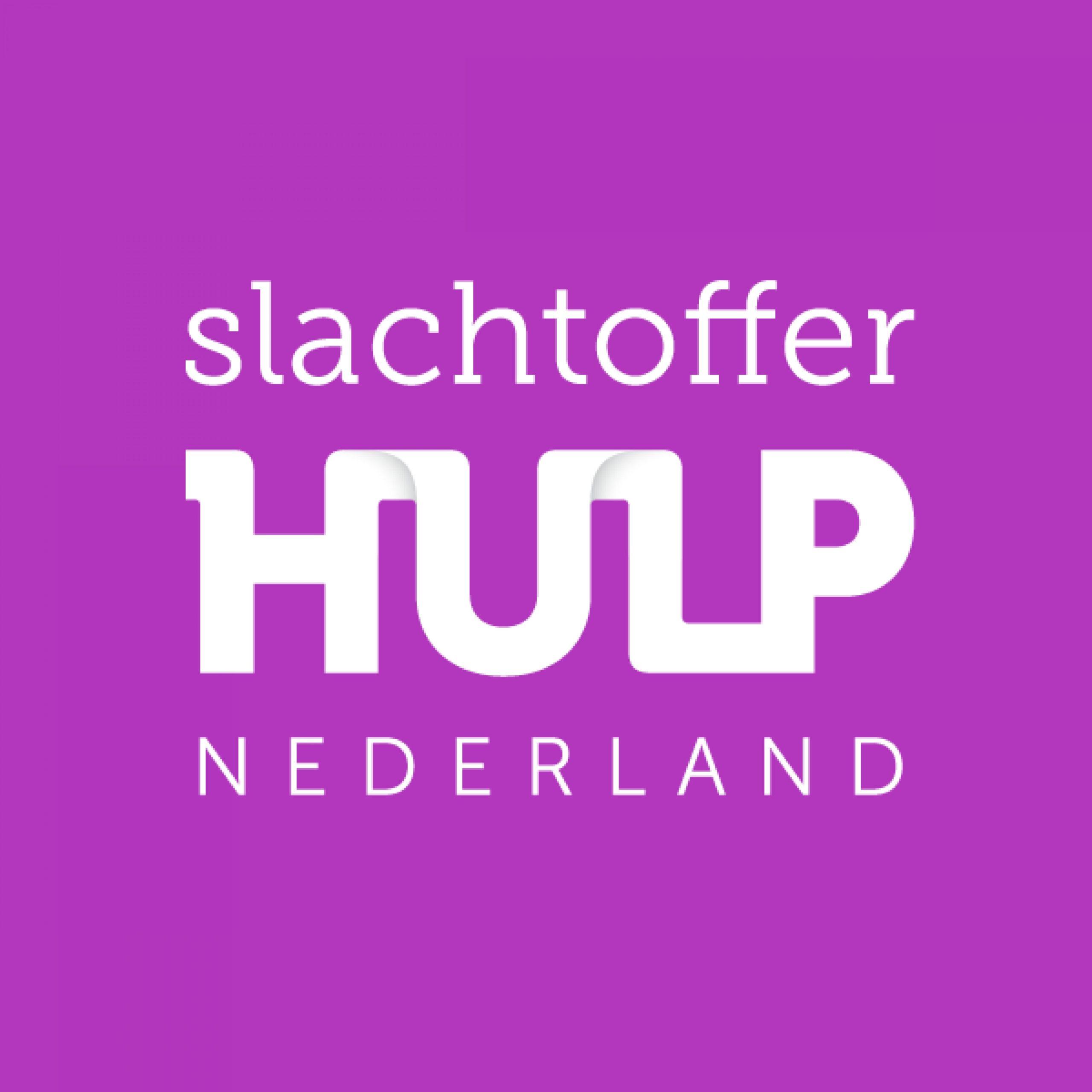 Letters op een roze achtergrond; het logo van Slachtofferhulp Nederland